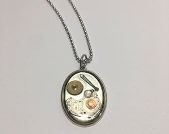 Steampunk Resin Charm Necklace