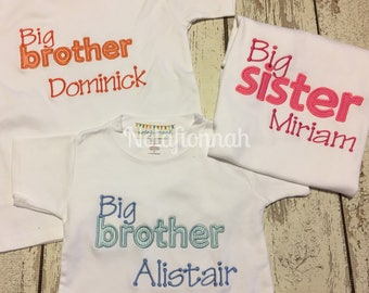 sibling shirts, new sibling, new baby brother, sister, new arrival, new baby gift set, big sister, big brother, baby sister, baby brother