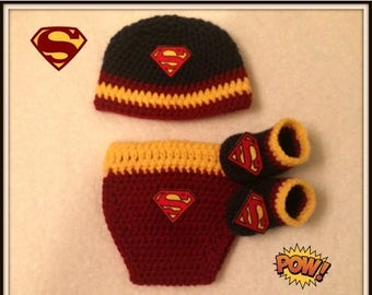 On Sale Superman Baby Photo Prop Set With Diaper Cover Hat And Booties Batman Baby Shower Gift Size Newborn Handmade Crochet Made to Order