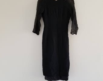 Vintage 1940's/1950's Black Wiggle Dress Small