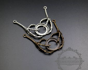 6pcs 15mm vintage style brass bronze,antiqued silver round tray settings steampunk claw pendant charm jewelry findings supplies 1421085