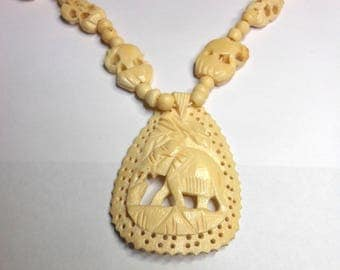 Carved Bone Elephant Necklace-Ethnic Tribal Necklace-African Bone Necklace