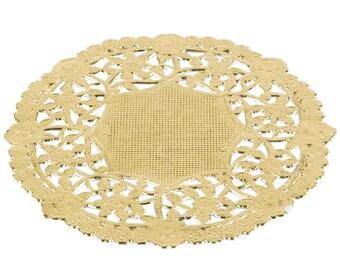 """75- 4"""" GOLD FOIL Paper Lace Doily Parties Weddings Crafts, Wedding Decor, Bridal Shower,  Shower, Anniversary Doilies, 4"""" Doilies, DIY Bride"""