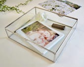 "Photo Display Box, 11""x14"" Clear Glass Photo Print Box, Display Case, Glass Jewelry Box, Gift For Her, Wedding Display Box"