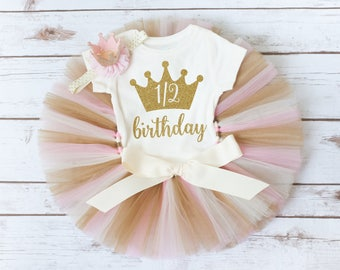 Half birthday outfit 'Luca Gold' pink and gold half birthday, girl 6 month photo outfit girl half birthday shirt gold crown headband 1/2