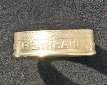 Ladies Bahrain 10 Fils Brass Coin Ring, Ring Size 6 and Double Sided