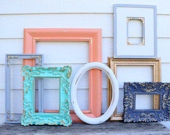 7 Open Frame Set- Navy Blue, Gold, Coral, Mint, Gray, White - Grey Navy Mint Frames - Picture Frame Set - Wedding - Nursery- Oval