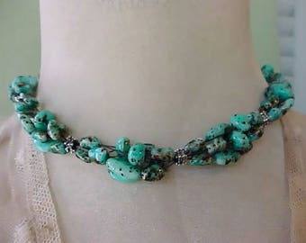 Lovely Necklace with Turquoise Colored Beads-Unusual and Pretty
