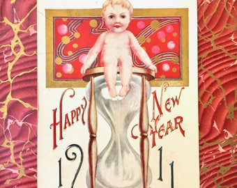 Beautiful Edwardian New Year Postcard-Baby with Hour Glass 1911
