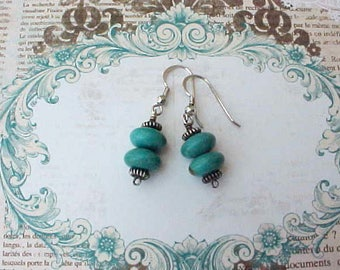 Handsome Sterling Silver Dangling Earrings with Turquoise Beads