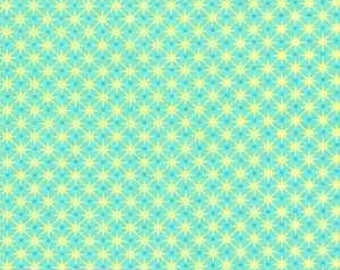 Fat Quarter -- Chirpy Lola -- By Rosalie Quinlan for Ella Blue Fabrics -100% Cotton Fabric -- Aqua/Yellow