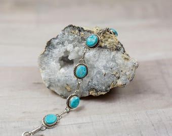 Vintage Sterling Silver Turquoise Link Bracelet Native American Southwestern