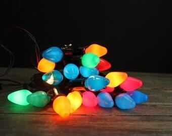 Vintage C-7 Christmas Light Strands with Bulbs // 3 Strands 21 Working Lights // Vintage Christmas