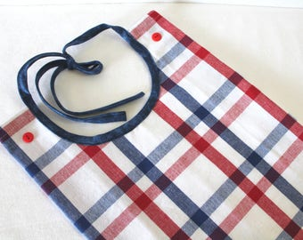 Adult Bib Americana Fourth 4th of July Red White Blue Plaid Makeup or Commuter Bib Apron Special Needs Senior Gift