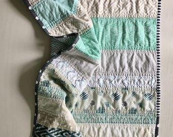Patchwork Stripe Quilt - shades of aqua and tan
