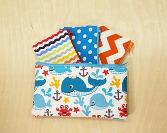 Kids Cash Envelope Wallet, Kids Cash Budget System, Give, Save, Spend -Whales under the sea- READY to SHIP