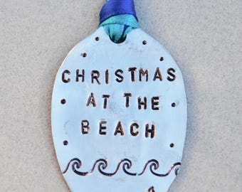 Christmas at the BEACH 2017 // Hand Stamped with WAVES Blue and Teal Ribbon // Large or Small Size // Best Selling Item // 1 ornament