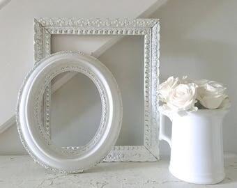 Vintage White Frame Shabby Chic Ornate 8x10