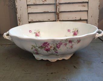 Vintage Limoges porcelain oval bowl, vintage pink floral bowl