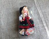 Little Souvenir Setesdal Plastic Doll from Norway in Original Box Blond Braids Black Dress