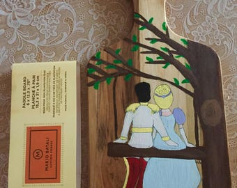 Hand Painted Cutting Board Wedding or Anniversary Personalized Cinderella and Prince Cheese Serving Board Gift