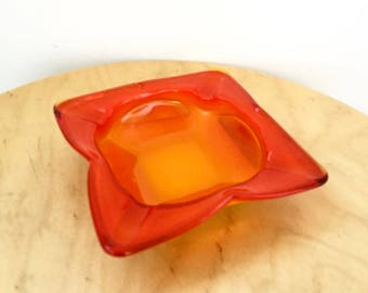 Vintage 1960s Mid Century Red and Yellow Glass Ashtray