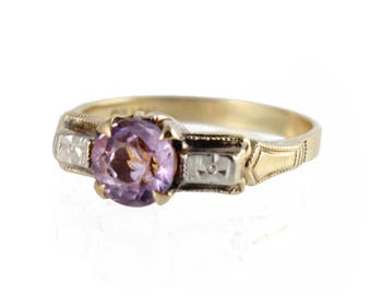vintage retro two-tone amethyst ring by ostby and barton, c. 1945