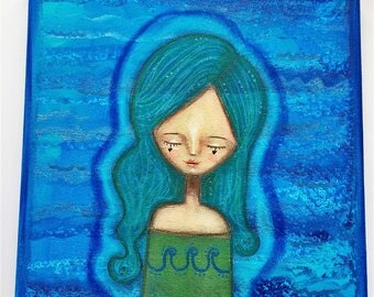 Water Elemental Girl Art Work. Mixed media artwork. Original Art for Sale, Original Art Work, Fine Art, Original Painting, Gift Women