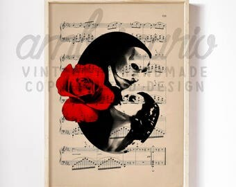 Phantom of the Opera Original Pop Art Classic Musical Inspired Print on Unframed Upcycled Bookpage