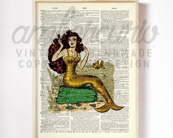 Pin Up Mermaid Retro Golden Scales Comic Book Styled Original Art Print on an Antique Unframed Upcycled Bookpage