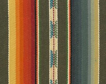 Brown, Green, Burnt Orange and Cream Striped Pillow Covers in Laura & Kiran Southwest Stripes Rio Grande Brown Multi Designer Fabric