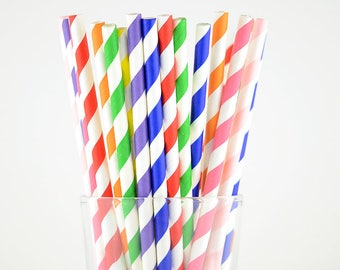 Rainbow Paper Straws Mix/Colorful Striped Straws/Party Decor/Cake Pop Sticks/Party Supplies/Wedding/Baby Shower