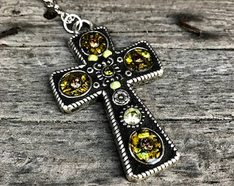 Mosaic Pendant Cross Necklace