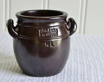 Small Höganäs storage jar, vintage Swedish brown ceramic pot, Hoganas Sweden, seventies kitchen