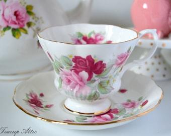 Royal Albert Pink And Red Floral Teacup Set, English Bone China Teacup And Saucer, Wedding Gift, ca. 1960