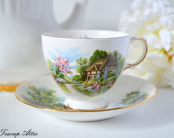 Royal Vale Teacup and Saucer Cottage Scenery, Pattern 7382,  English Bone China Tea Cup Set, Replacement China,  ca. 1962-1964
