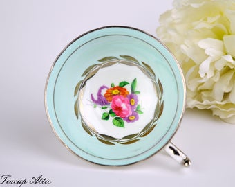 Paragon Pale Blue Floral Replacement Teacup With Platinum Trim, English Bone China Tea Cup Only, Orphan Teacup, ca. 1963