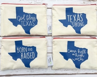 Texas Strong - Hurricane Harvey - Hurricane Harvey Relief Fund - Houston Strong - Zippered Pouch - Reusable Snack Bags