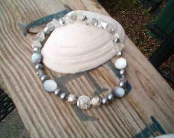 Gray & Silver Ankle Bracelet, Gray and Silver Beaded, Beach, Shell, Glitzy, Unique Ankle Bracelet, Stretch, Handcrafted One Of a Kind, Fancy