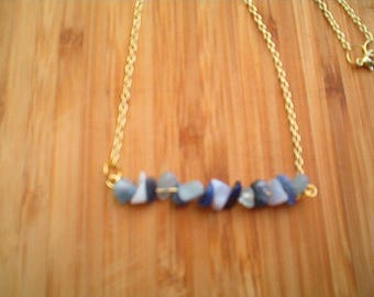 Gemstone Bar Necklace, Gold, Lapis, Blue Lace Agate, Sodalite Gemstone Chips, Pretty Necklace, Handcrafted, 16 Inch