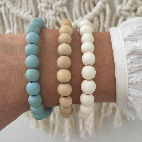 beach jewelry, beachcomber wooden bracelets