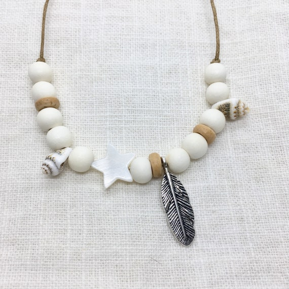 boho jewelry, bohemian beaded necklace, beachcomber beach jewelry