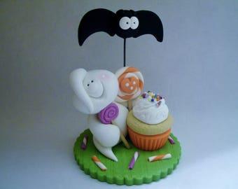 Halloween Celebration - Ghost - Bat - Polymer Clay - Halloween - Figurine