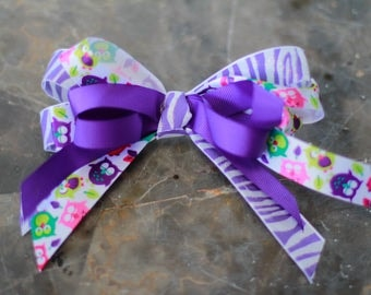 Purple zebra with owls hair bow with clip