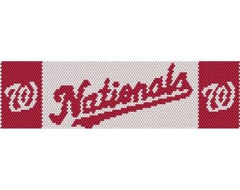 Nationals Logo Peyote Bead Pattern, Bracelet Pattern, Bookmark Pattern, Seed Beading Pattern Delica Size 11 Beads - PDF Instant Download