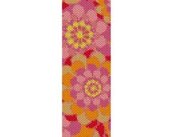 Pop Flowers Pattern Peyote Bead Pattern, Bracelet Cuff, Bookmark, Seed Beading Pattern Miyuki Delica Size 11 Beads - PDF Instant Downlo