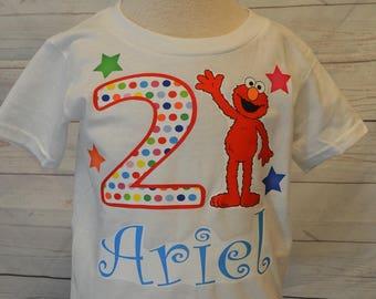 Elmo birthday boy shirt, FREE SHIPPING, elmo birthday, boy shirt, birthday boy, red and blue, polka dots,stars, colorful shirt,colorful elmo