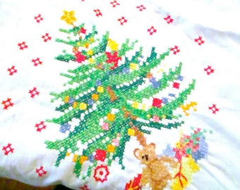 "Christmas Tablecloth Hand Cross Stitched and Crocheted 1970s 100"" x 68"" size"