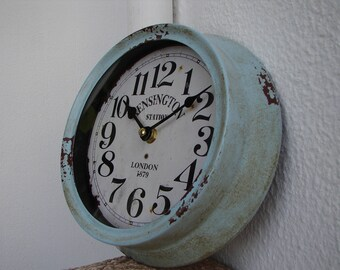 LAST ONE !!! shabby chic,vintage pale blue,small,round,metal,wall clock-battery operated,Kensington Station,London design
