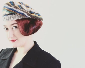 40's Style Beret, Hat, Beret, Adult's Beret, Pure Wool, Hand Knitted, UK Seller,